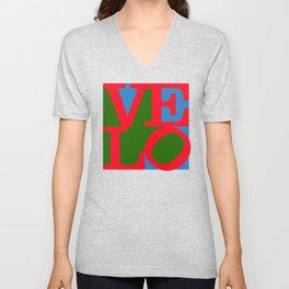 Velo Love – Logo – June 12th – 200th Birthday of the Bicycle Unisex V-Neck