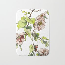 Camellia Inspired Flower Branch Bath Mat