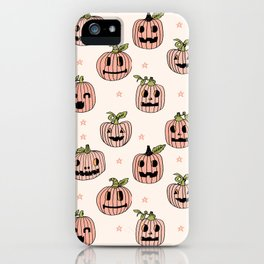 Pumpkin halloween jack-o'-lantern fall autumn carving cute pattern iPhone Case