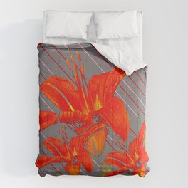 Red Abstracted Day Lilies On Grey Striped Art Comforters