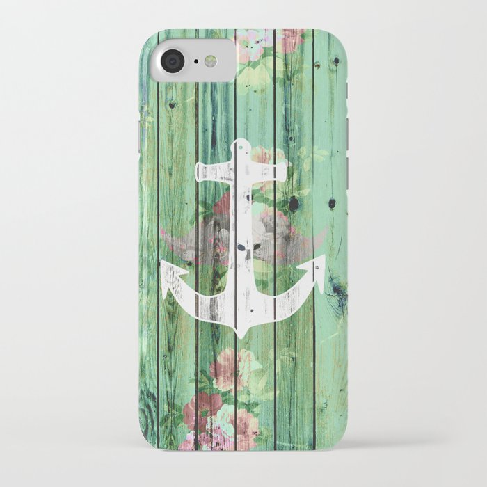 Vintage Floral Nautical Anchor Green Beach Wood iPhone Case