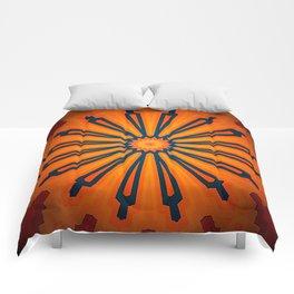 Rich Orange And Navy Blue Flower Mandala Comforters