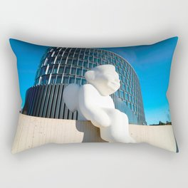 Angel sculpture at modern steel and glass forum skyscraper Rectangular Pillow