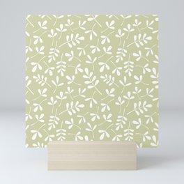 Assorted Leaf Silhouettes White on Lime Ptn Mini Art Print