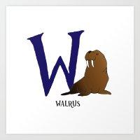 walrus Art Prints featuring Walrus by Dale B