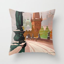 Prague Travel Poster Throw Pillow