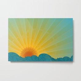 Vintage Ocean Sunset Metal Print