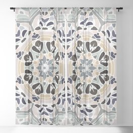 Floral Multicolored Mandala with Light Linen Texture Sheer Curtain