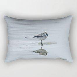 White Wagtail (Motacilla alba) on ice, frozen pond winter Rectangular Pillow