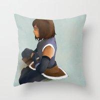 korra Throw Pillows featuring Korra by Mannj