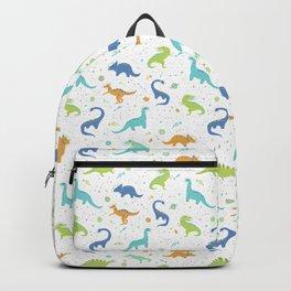 Space Dinosaurs on White (Orange + Blue) Backpack