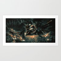 Godzilla vs Kingkong Blue Orange  Art Print