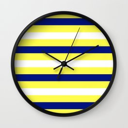 Nautical Stripe in Yellow, White and Navy Wall Clock