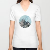 mountain V-neck T-shirts featuring Mountain by madbiffymorghulis