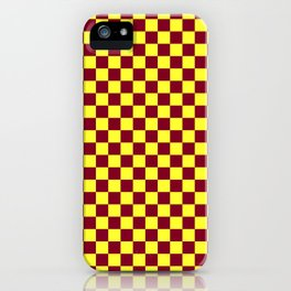Electric Yellow and Burgundy Red Checkerboard iPhone Case