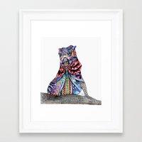 tatoo Framed Art Prints featuring Tatoo pug by Annie Liu