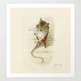 Grandfather Mouse Reading the Newspaper Art Print