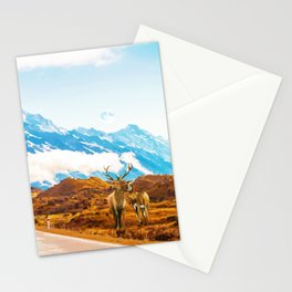 Wildlife, Animals Nature Travel Landscape Painting, Snow Moon Wanderlust Forest Antelopes Stationery Cards