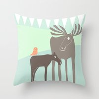 moose Throw Pillows featuring Moose by Dream Of Forest
