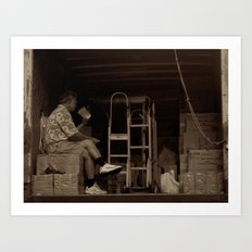 Man eating inside the van. Chinatown, New York City Art Print