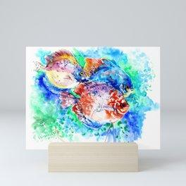 Underwater Scene Artwork, Discus Fish, Turquoise blue pink aquatic design Mini Art Print