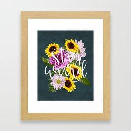 Stay Weird in Flowers // Hand Lettering Framed Art Print