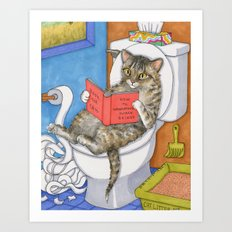 Cat on toilet Art Print