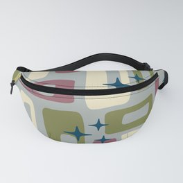 Retro Mid Century Modern Abstract Pattern 578 Wine Olive and Gray Fanny Pack