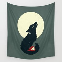 red riding hood Wall Tapestries featuring Little Red Riding Hood by Freeminds