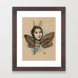 MOTH LADY Framed Art Print
