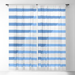Beach Stripes Blue Sheer Curtain
