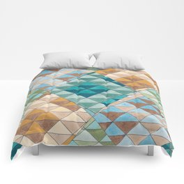 Triangle Patter No.15 Shifting Teal and Yellow Comforters