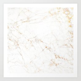 White Marble with Delicate Gold Veins Art Print