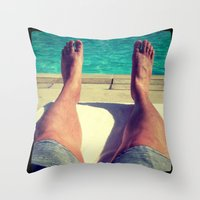 feet Throw Pillows featuring Feet by Devin Stout