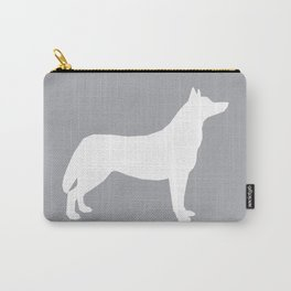 Husky dog pattern simple minimal basic dog silhouette huskies dog breed grey and white Carry-All Pouch