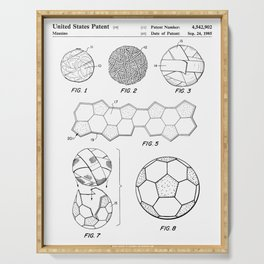 Soccer Ball Patent - Football Art - Black And White Serving Tray