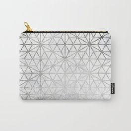 Modern silver stars geometric pattern Christmas white marble Carry-All Pouch