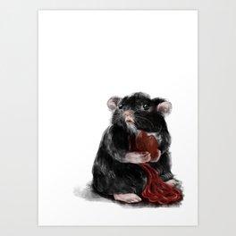 Rat eating its Heart. Guts spilling. Art Print