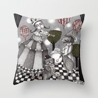 concert Throw Pillows featuring Alice's After Tea Concert by Judith Clay