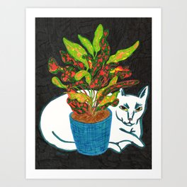 Cat with House Plant Art Print