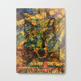 Wolf Stylized Blue/Green/Yellow Metal Print