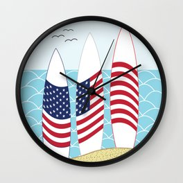 Surfing USA Wall Clock