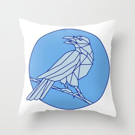 Crow Perching Looking Side Circle Mono Line Throw Pillow
