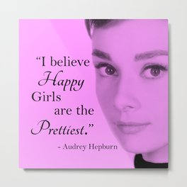 Happy Girls - Pink and Black - With Audrey Metal Print
