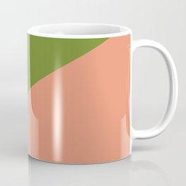 Peachy Green Minimalist Angled Color Block Coffee Mug