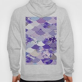 Nature background with japanese sakura flower, Cherry, wave circle. Ultra Violet Color of the Year Hoody