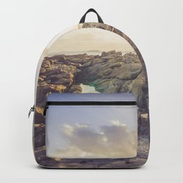 Golden hour, rocky beach Landscape - Photography #Society6 Backpack
