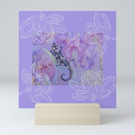 Salamander & Flowers Mini Art Print