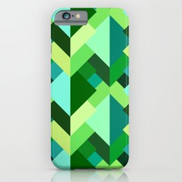 Modern Abstract Triangles, Emerald Green and Aqua iPhone Case