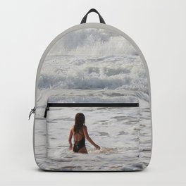 Breaking wave and girl Backpack